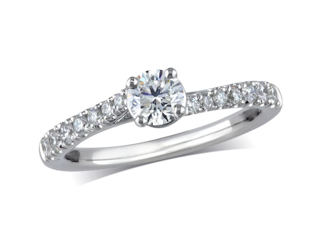 Platinum set single stone diamond engagement ring, with a certificated brilliant cut centre in a four claw setting, and diamond set shoulders. Perfect fit with a wedding ring. Total diamond weight: 0.70ct.