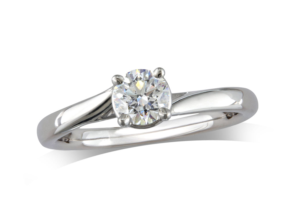 A 0.40ct, Brilliant, D, Single stone diamond ring. You can buy online or reserve online and view in store at Jamieson and Carry, Aberdeen