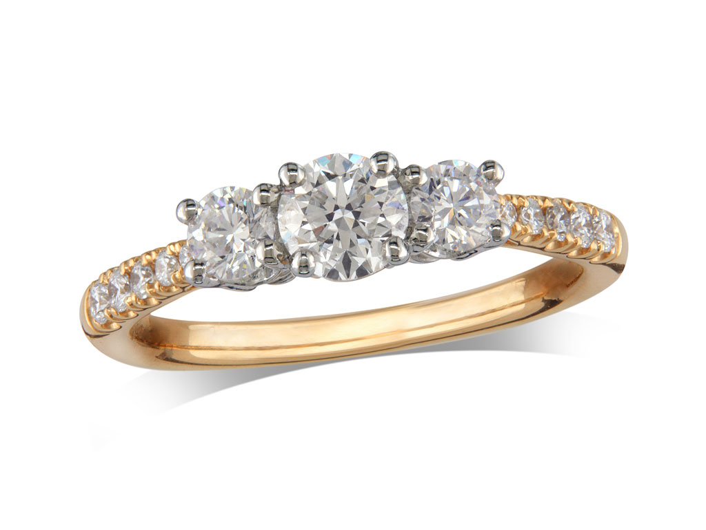 A 0.40ct, Brilliant, E, Three stone diamond ring. You can buy online or reserve online and view in store at Michael Jones Jeweller, Gold Street Northampton
