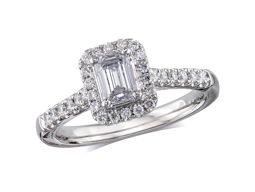 Platinum set diamond cluster engagement ring, with a certificated emerald cut centre in a four claw setting, with a surrounding diamond set bezel and diamond set shoulders. Perfect fit with a wedding ring. Total cluster diamond weight: 0.79ct.