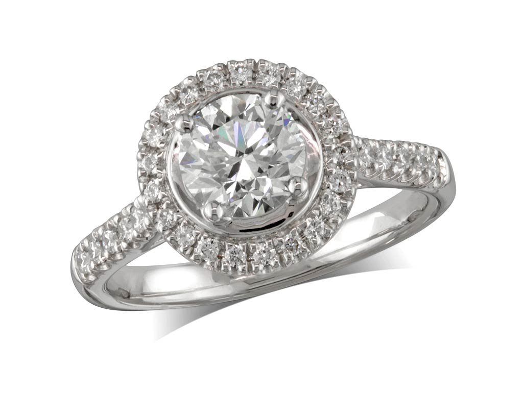 A 0.90ct centre, Brilliant, G, Cluster diamond ring. You can buy online or reserve online and view in store at Michael Jones Jeweller, Banbury