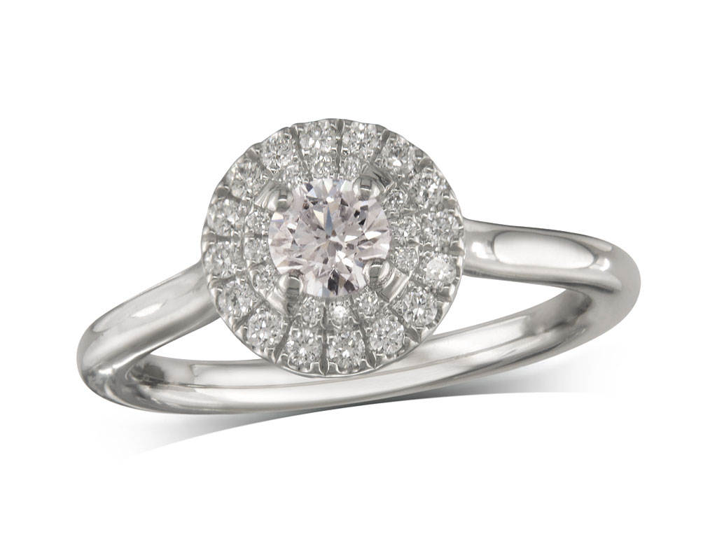 Platinum set diamond ring, with a certificated brilliant cut centre in a four claw setting, surrounded by a double row diamond set cluster. Perfect fit with a wedding ring. Total diamond weight: 0.50ct.
