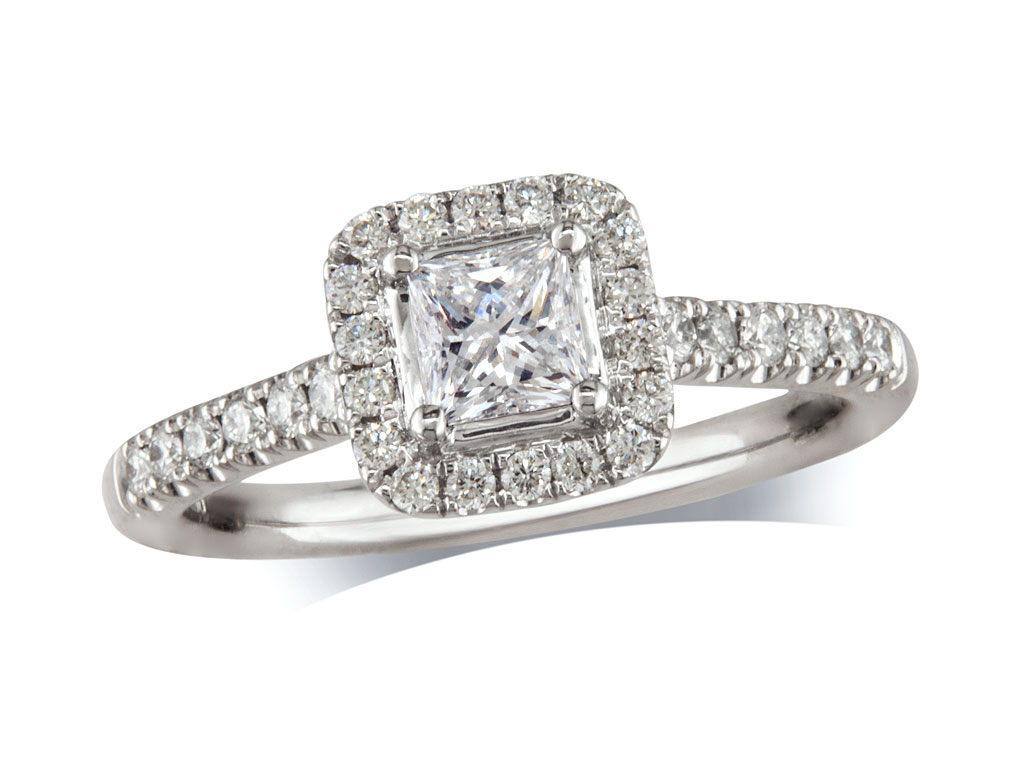 Platinum set diamond ring, with a certificated princess cut centre in a four claw setting, surrounded by a diamond set cluster and shoulders. Perfect fit with a wedding ring. Total diamond weight: 0.78ct.