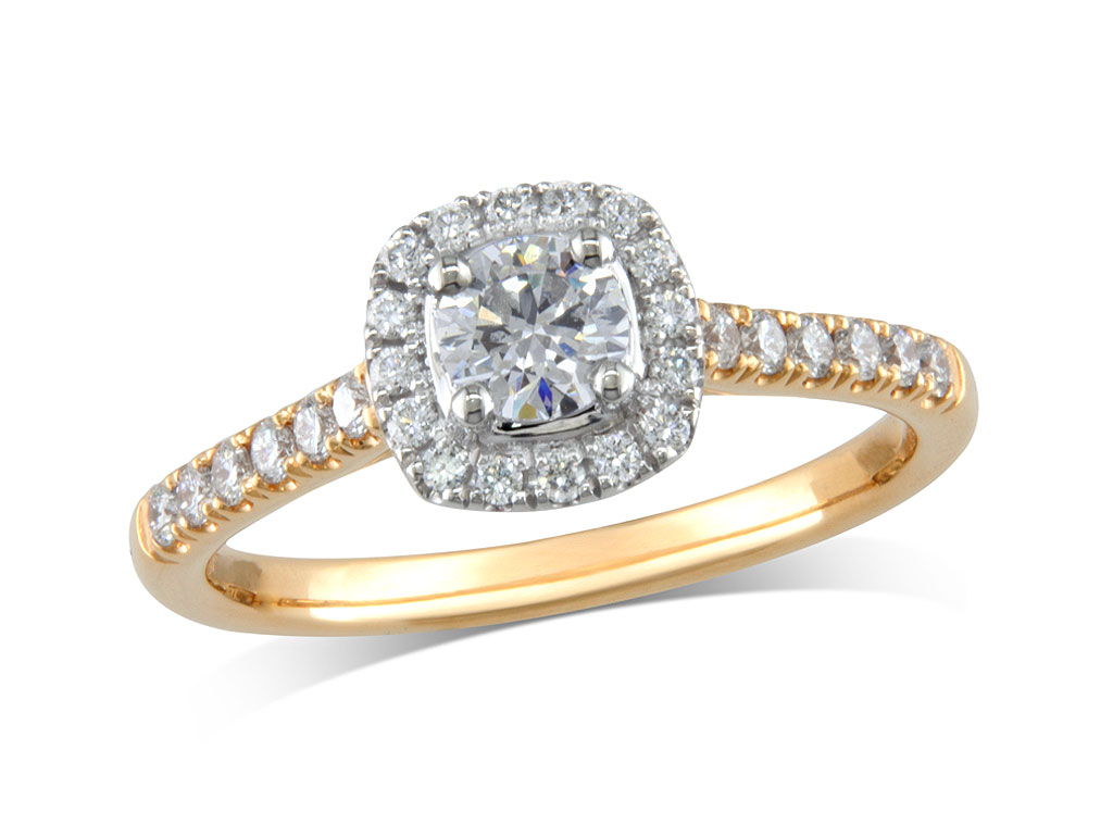 18 carat yellow gold set diamond cluster engagement ring, with a certificated brilliant cut centre in a four claw setting, with a surrounding diamond set bezel and diamond set shoulders. Perfect fit with a wedding ring. Total cluster diamond weight: 0.56ct.