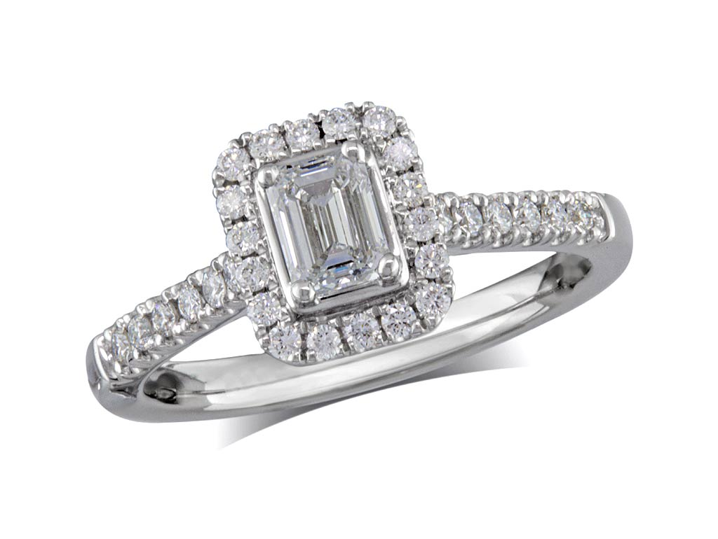Platinum set diamond cluster engagement ring, with a certificated emerald cut centre in a four claw setting, with a surrounding diamond set bezel and diamond set shoulders. Perfect fit with a wedding ring. Total cluster diamond weight: 0.71ct.