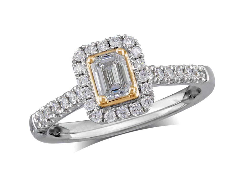Platinum set diamond cluster engagement ring, with a certificated emerald cut centre in a four claw setting, with a surrounding diamond set bezel and diamond set shoulders. Perfect fit with a wedding ring. Total cluster diamond weight0.68cts