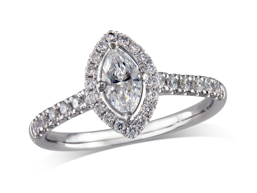 Platinum set diamond cluster engagement ring, with a certificated marquise cut centre in a four claw setting, with a surrounding diamond set bezel and diamond set shoulders. Perfect fit with a wedding ring. Total cluster diamond weight: 0.59ct.