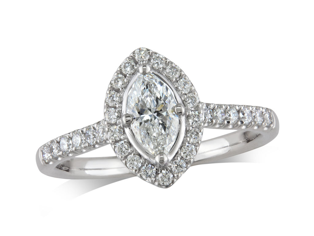 Platinum set diamond ring, with a certificated marquise cut centre in a claw setting, surrounded by a diamond set cluster and shoulders. Perfect fit with a wedding ring. Total diamond weight: 0.63ct.