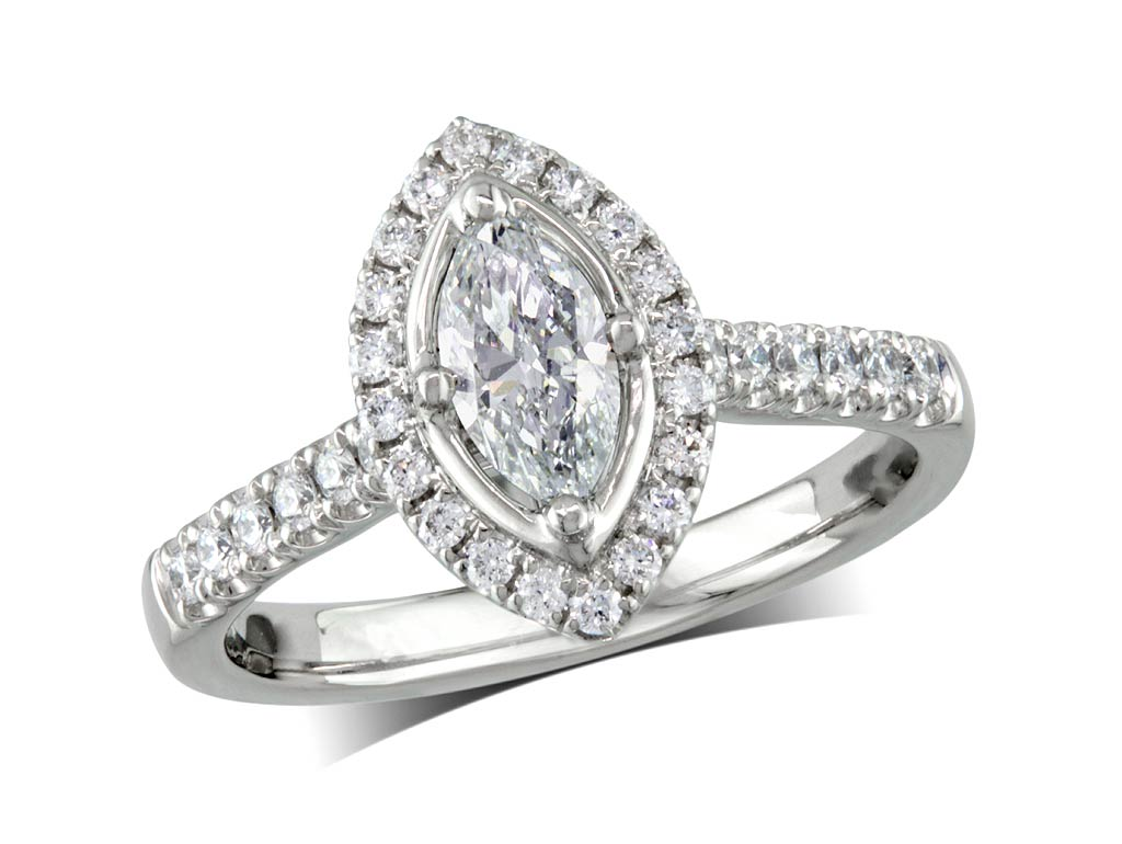 Platinum set diamond ring, with a certificated marquise cut centre in a 4 claw setting, surrounded by a diamond set cluster and shoulders. Perfect fit with a wedding ring. Total diamond weight:0.84ct
