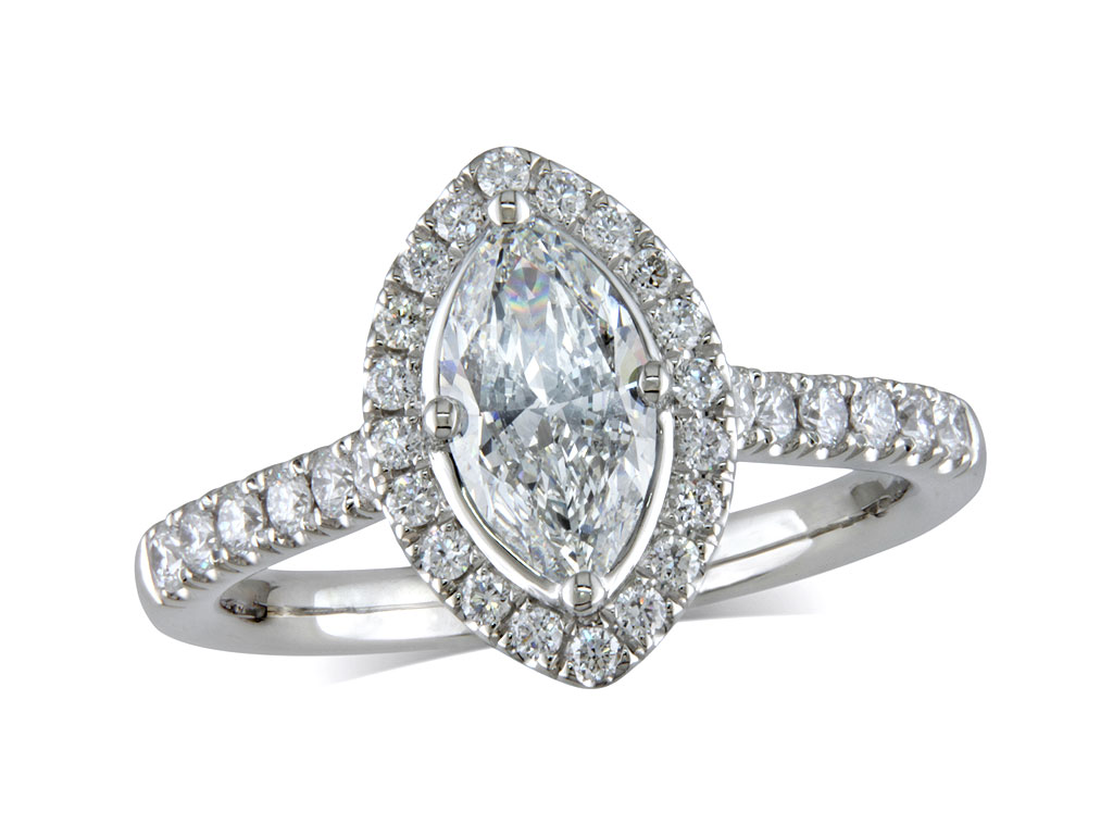 A 0.71ct centre, Marquise, D, Cluster diamond ring. You can buy online or reserve online and view in store at Jamieson and Carry, Aberdeen