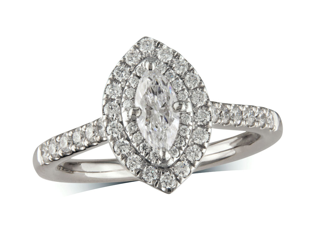 Platinum cluster diamond engagement ring, with a certificated marquise cut centre in a four claw setting, with a surrounding diamond set bezel and diamond set shoulders. Perfect fit with a wedding ring. Total cluster diamond weight: 0.78ct.