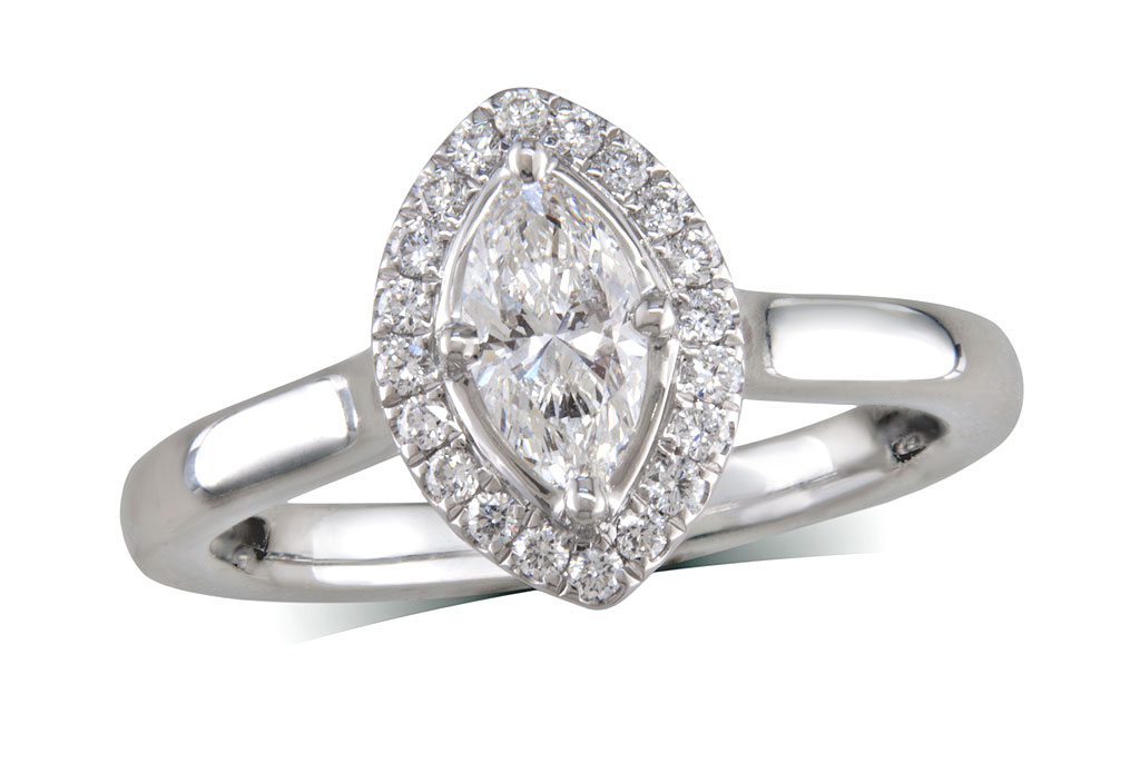 Platinum set diamond ring, with a certificated marquise cut centre in a 4 claw setting, surrounded by a diamond set cluster. Perfect fit with a wedding ring. Total diamond weight: 0.56ct.