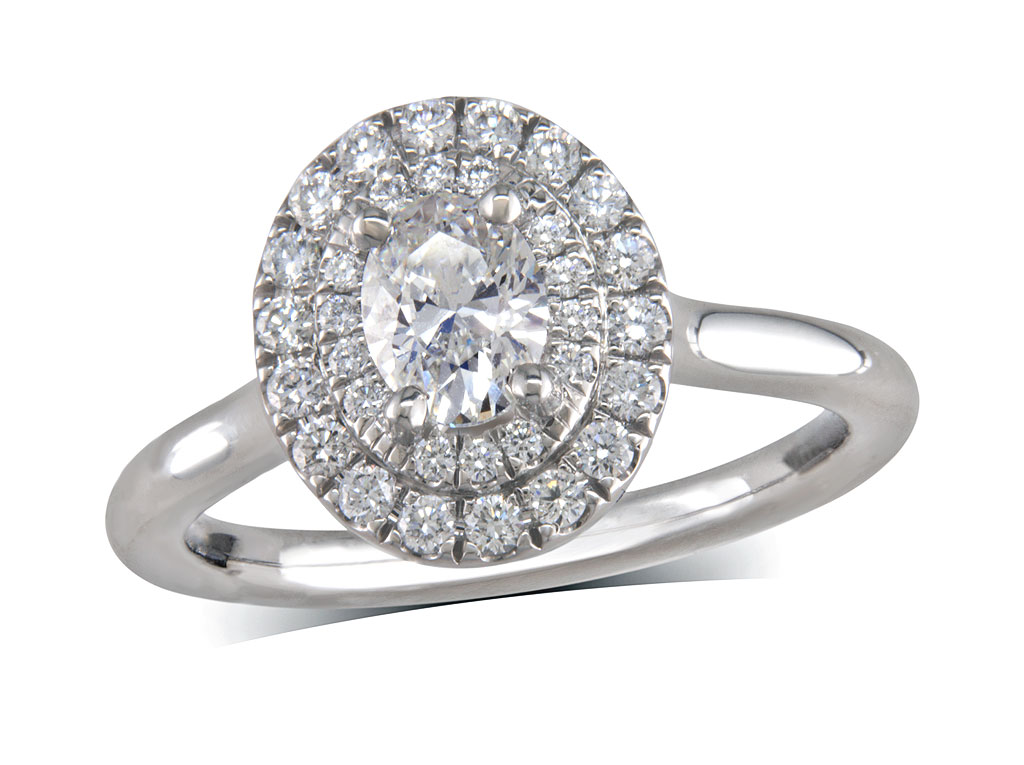 Platinum cluster diamond engagement ring, with a certificated oval cut centre in a three claw setting, with a surrounding double row diamond set bezel. Perfect fit with a wedding ring. Total cluster diamond weight: 0.53ct.