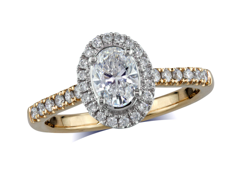 18 carat yellow gold set diamond ring, with a certificated oval cut centre in a four claw setting, surrounded by a diamond set cluster and shoulders. Perfect fit with a wedding ring. Total diamond weight: 0.76ct.