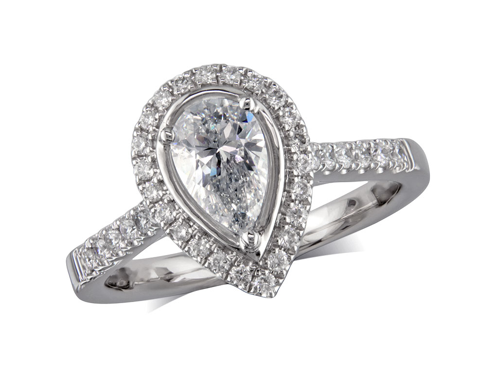 060ct centre Pear F Cluster diamond ring Aberdeen