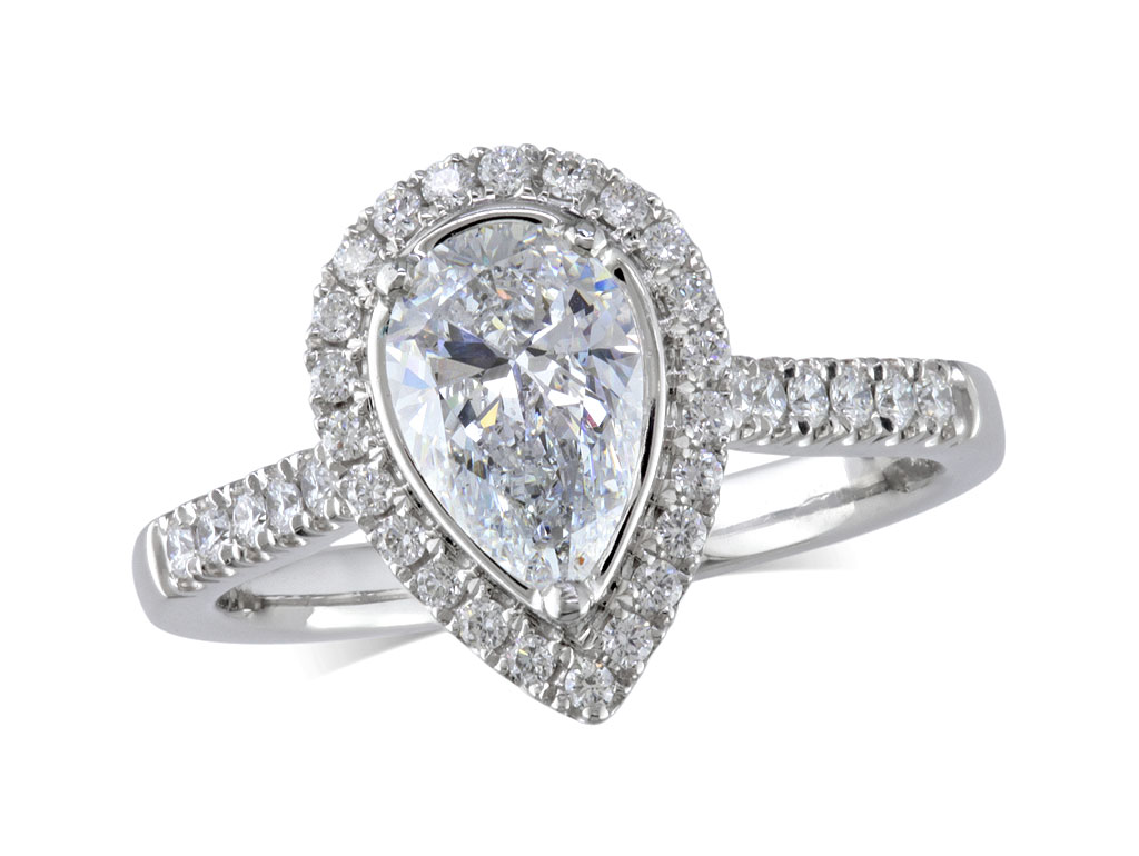 Platinum set diamond ring, with a certificated pear cut centre in a three claw setting, surrounded by a diamond set cluster and shoulders. Perfect fit with a wedding ring. Total diamond weight: 1.62ct.