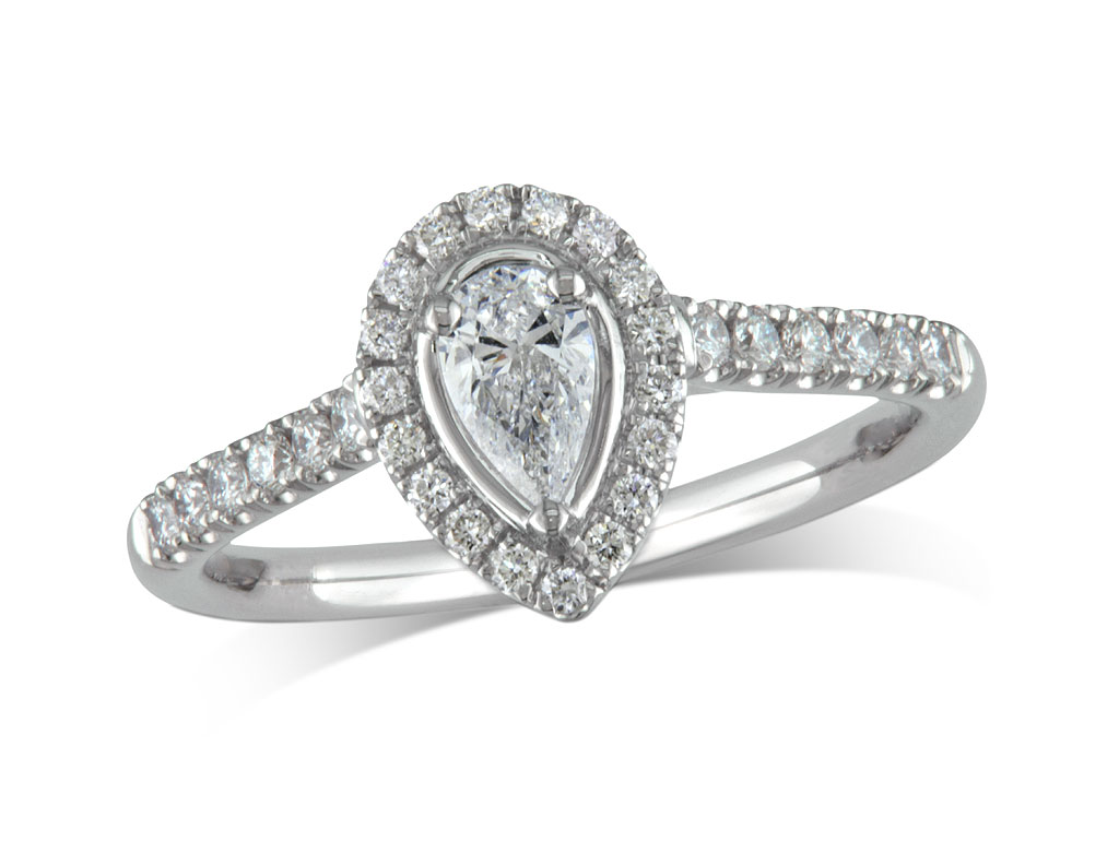 Platinum set diamond ring, with a certificated pear cut centre in a three claw setting, surrounded by a diamond set cluster and shoulders. Perfect fit with a wedding ring. Total diamond weight: 0.44ct.