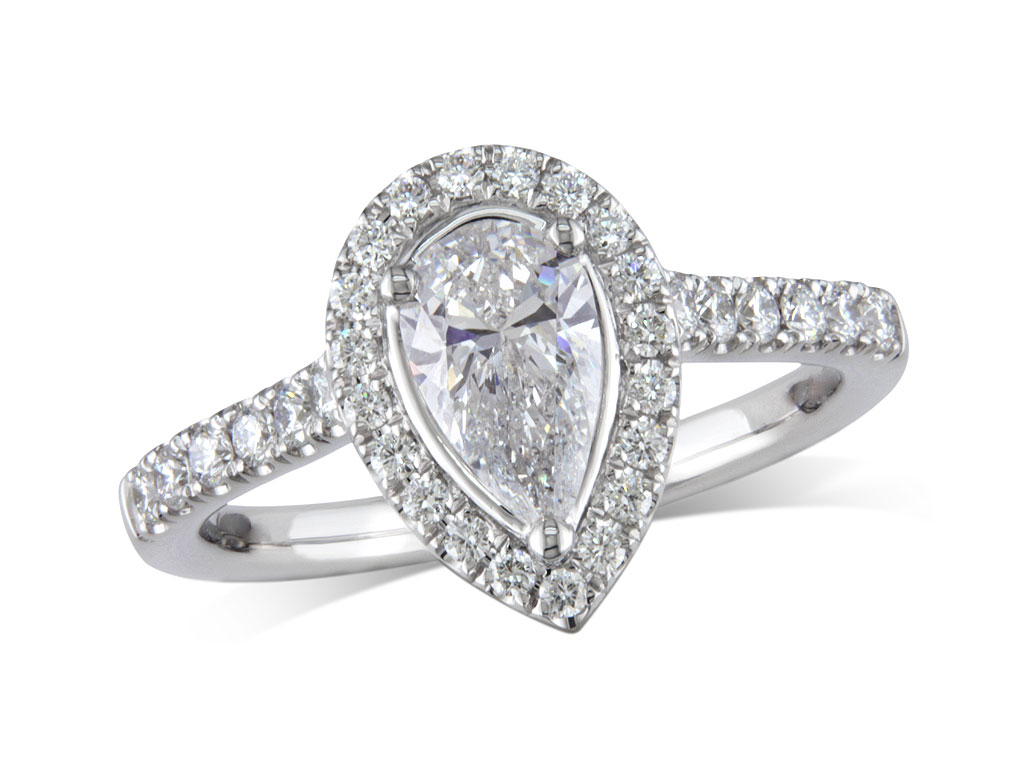 Platinum set diamond ring, with a certificated pear cut centre in a three claw setting, surrounded by a diamond set cluster and shoulders. Perfect fit with a wedding ring. Total diamond weight: 1.09ct.