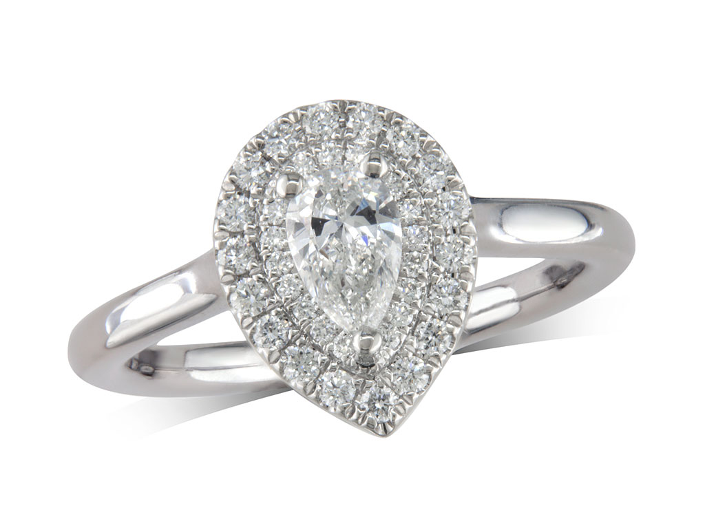 Platinum cluster diamond engagement ring, with a certificated pear cut centre in a three claw setting, with a surrounding double row diamond set bezel. Perfect fit with a wedding ring. Total cluster diamond weight: 0.58ct.