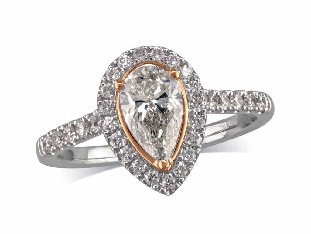 Platinum set diamond ring, with a certificated pear cut centre in a three claw setting, surrounded by a diamond set cluster and shoulders. Perfect fit with a wedding ring. Total diamond weight: 0.73cts