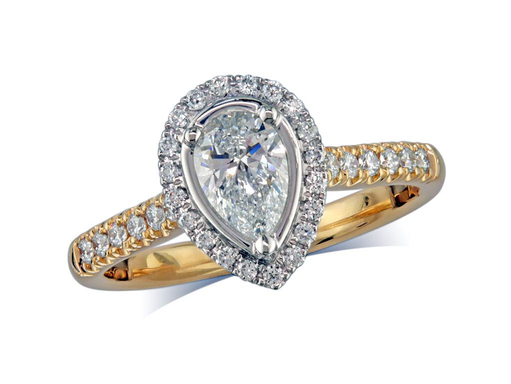 18 carat yellow gold set diamond ring, with a certificated pear cut centre in a three claw setting, surrounded by a diamond set cluster and shoulders. Perfect fit with a wedding ring. Total diamond weight: 0.81ct.
