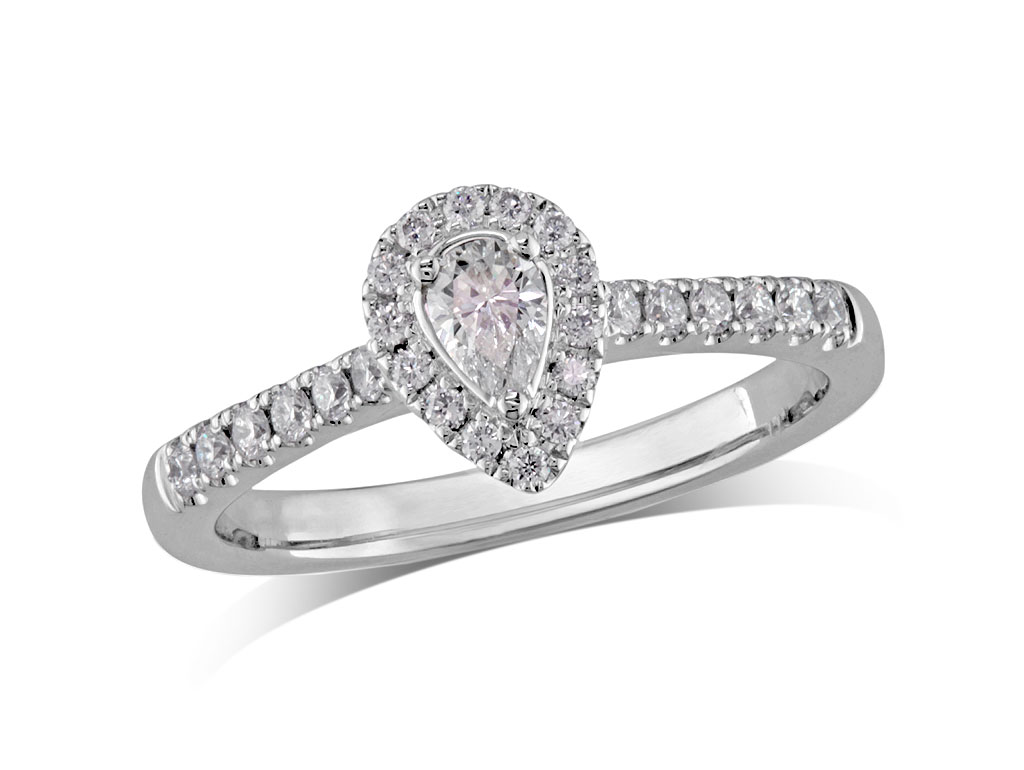 Platinum set diamond ring, with a certificated pear cut centre in a three claw setting, surrounded by a diamond set cluster and shoulders. Perfect fit with a wedding ring. Total diamond weight: 0.43ct.