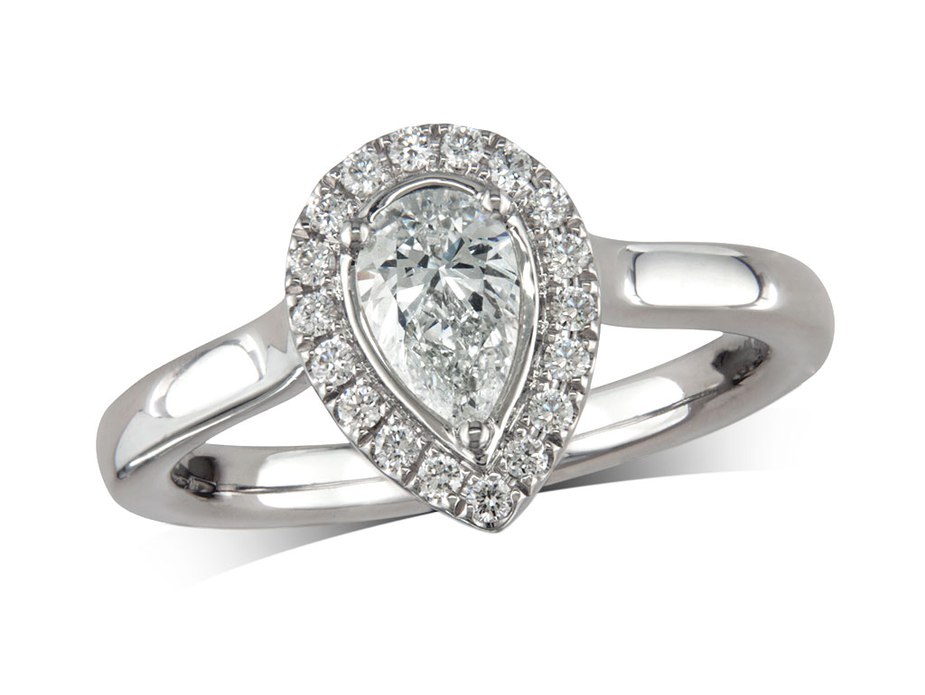 Platinum set diamond cluster engagement ring, with a certificated pear cut centre in a three claw setting, with a surrounding diamond set bezel. Perfect fit with a wedding ring. Total cluster diamond weight: 0.69ct.