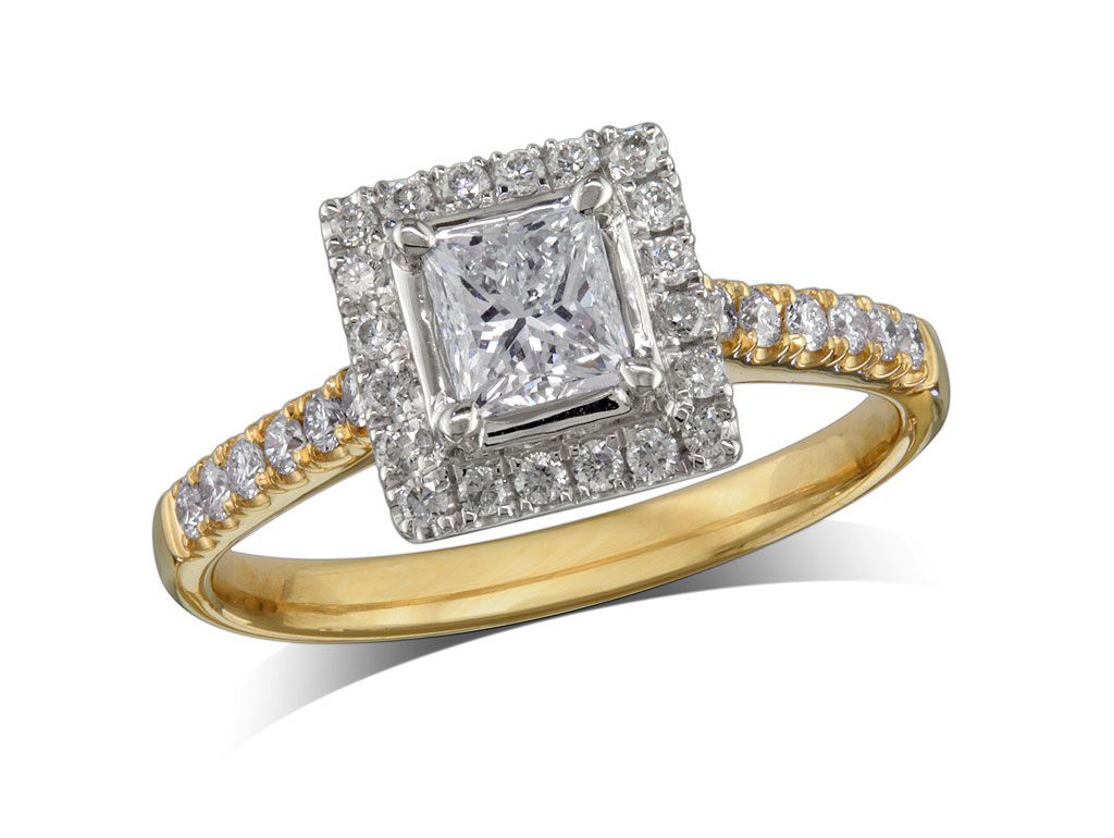 18 carat yellow gold set diamond ring, with a certificated princess cut centre in a four claw setting, surrounded by a diamond set cluster and shoulders. Perfect fit with a wedding ring. Total diamond weight: 0.83ct.
