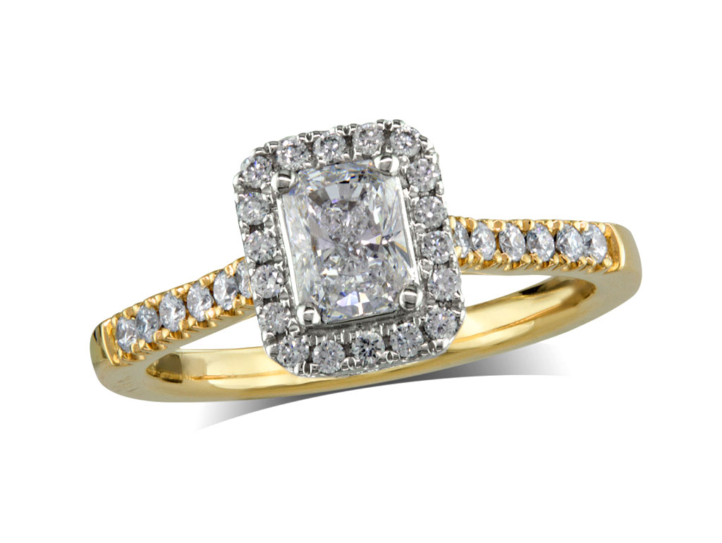 18 carat yellow gold set diamond cluster engagement ring, with a certificated radiant cut centre in a four claw setting, with a surrounding diamond set bezel and diamond set shoulders. Perfect fit with a wedding ring. Total cluster diamond weight: 0.80ct.