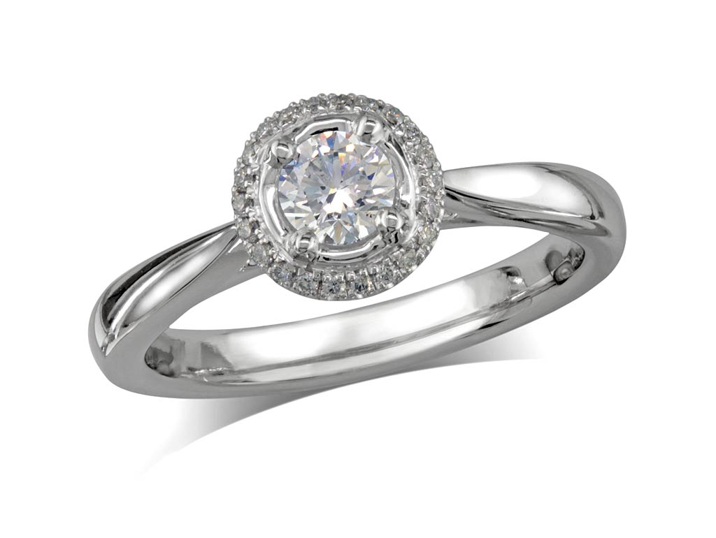 Platinum set diamond cluster engagement ring, with a certificated brilliant cut centre in a four claw setting, with a surrounding diamond set bezel. Total cluster diamond weight: 0.46ct