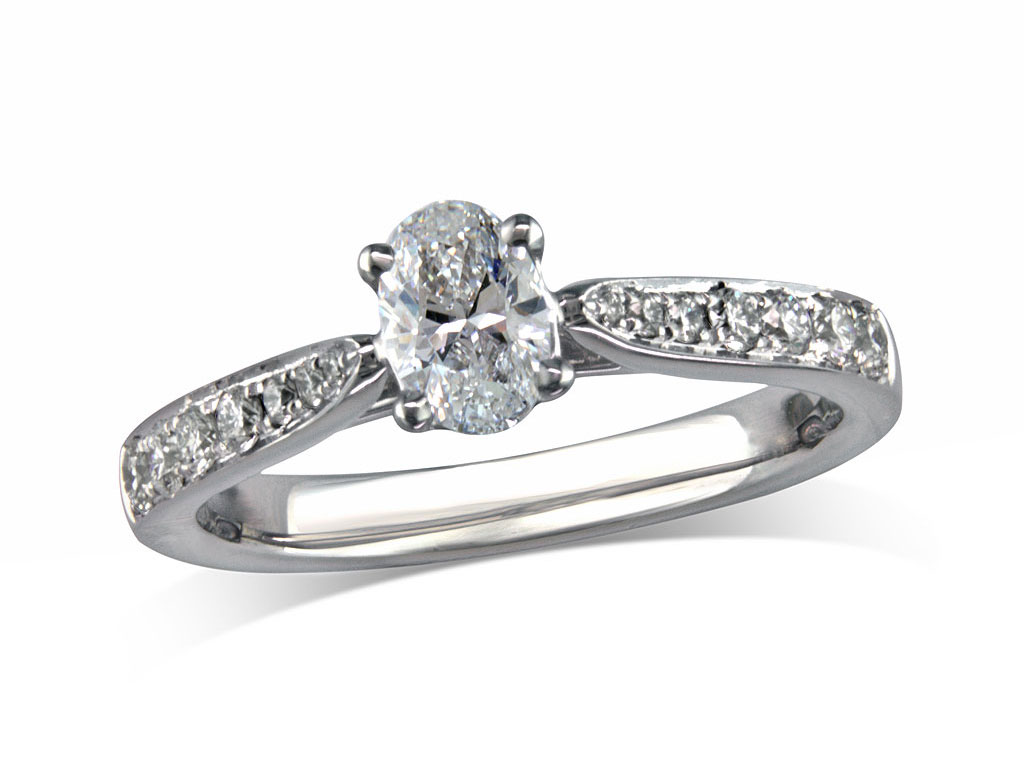 Platinum set single stone diamond engagement ring, with a certificated oval cut centre in a four claw setting, and diamond set shoulders. Perfect fit with a wedding ring. Total diamond weight: 0.69ct.