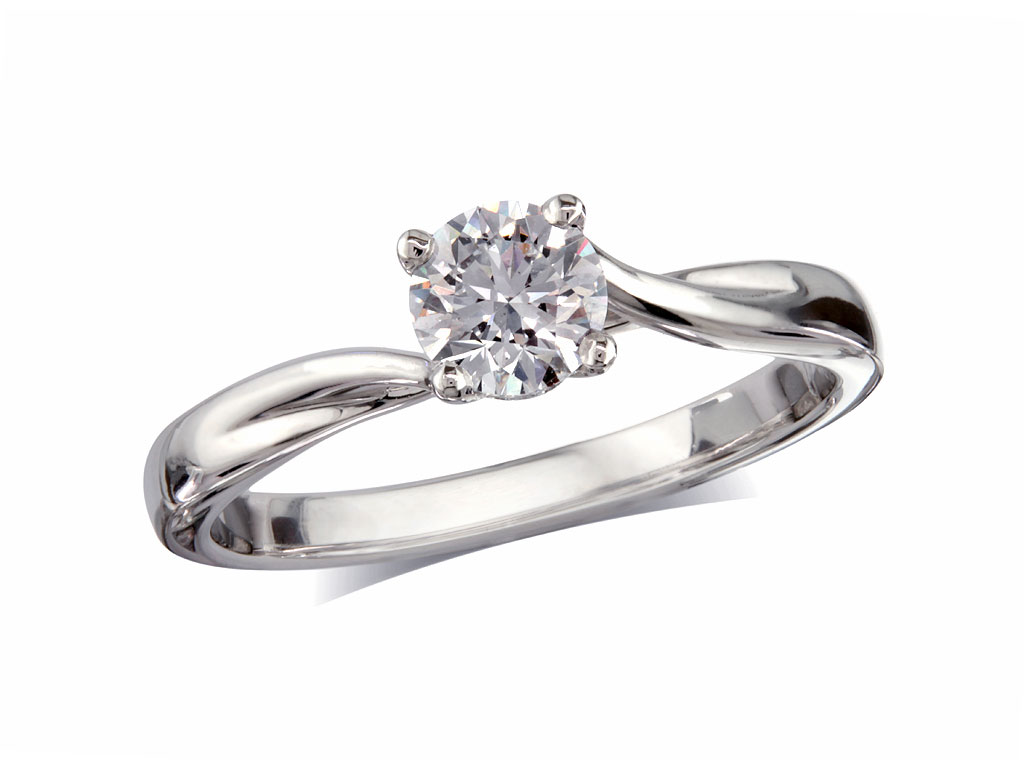 A 0.50ct, Brilliant, E, Single stone diamond ring. You can buy online or reserve online and view in store at Jamieson and Carry, Aberdeen