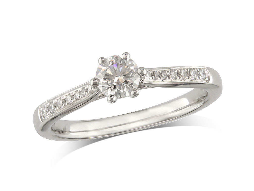 Platinum set single stone diamond engagement ring, with a certificated brilliant cut centre in a six claw setting, and diamond set shoulders. Perfect fit with a wedding ring. Total diamond weight: 0.42ct.