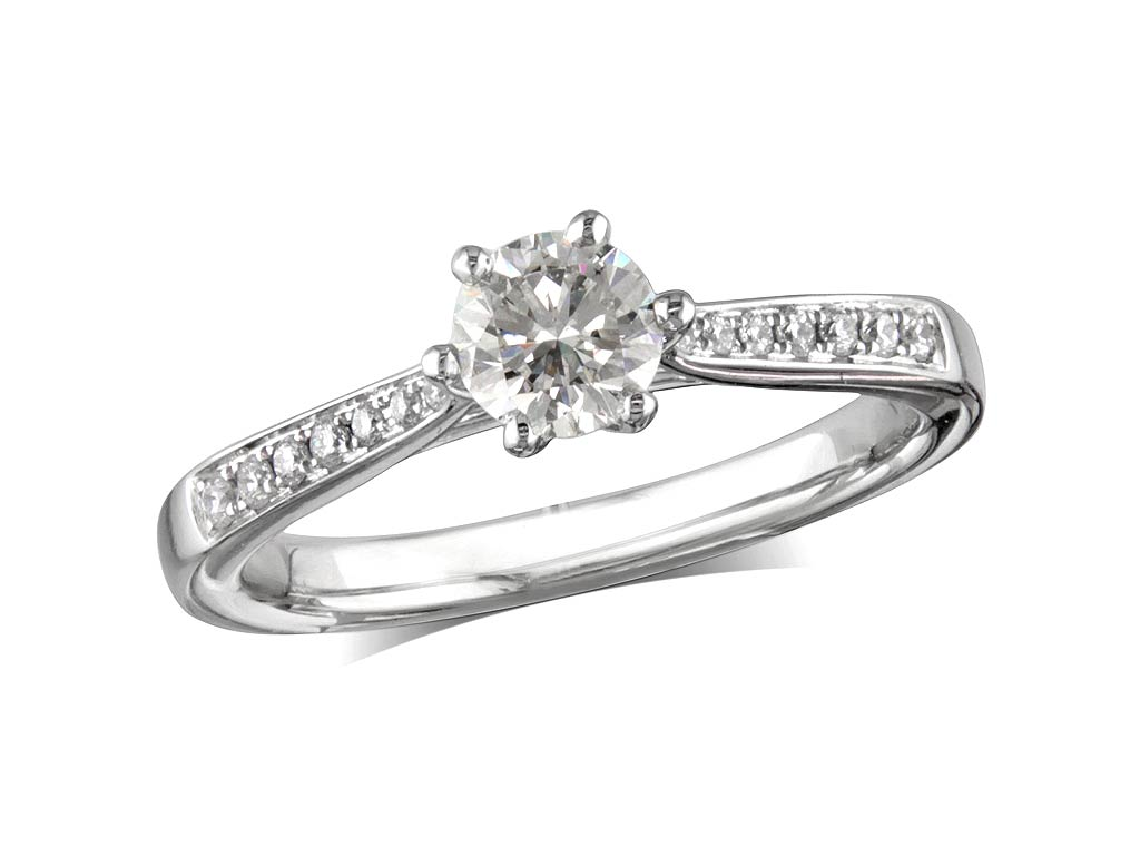 Platinum set single stone diamond engagement ring, with a certificated brilliant cut centre in a six claw setting, and diamond set shoulders. Perfect fit with a wedding ring. Total diamond weight:0.51ct