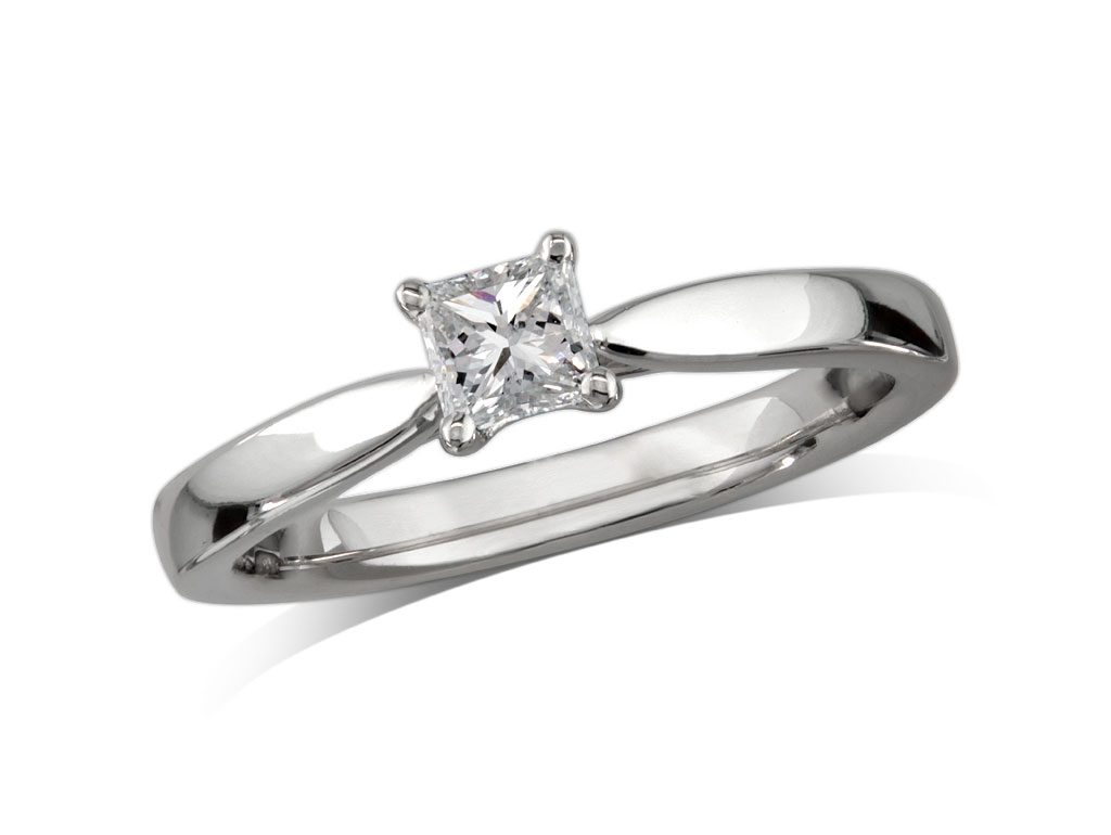 A 0.30ct, Princess, D, Single stone diamond ring. You can buy online or reserve online and view in store at Jamieson and Carry, Aberdeen