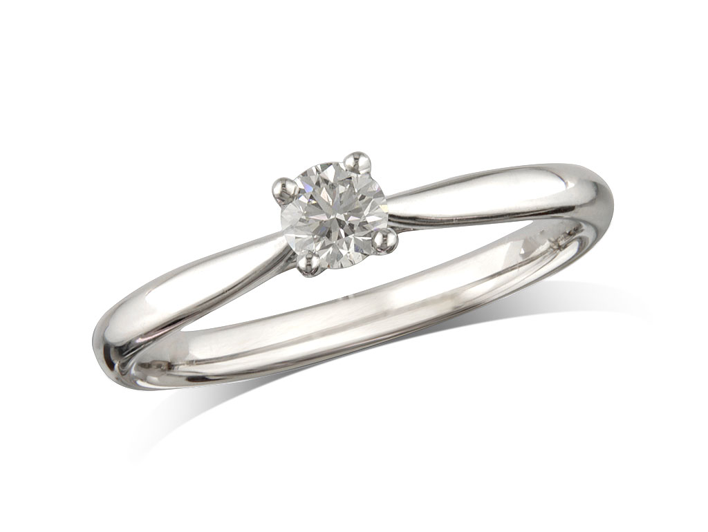 A 0.24ct, Brilliant, F, Single stone diamond ring. You can buy online or reserve online and view in store at Michael Jones Jeweller, Grosvenor Northampton