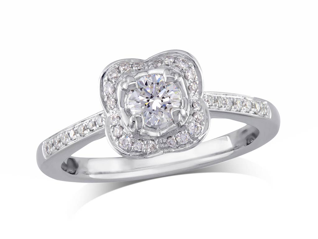 A 0.37ct centre, Brilliant, F, Cluster diamond ring. You can buy online or reserve online and view in store at Jamieson and Carry, Aberdeen