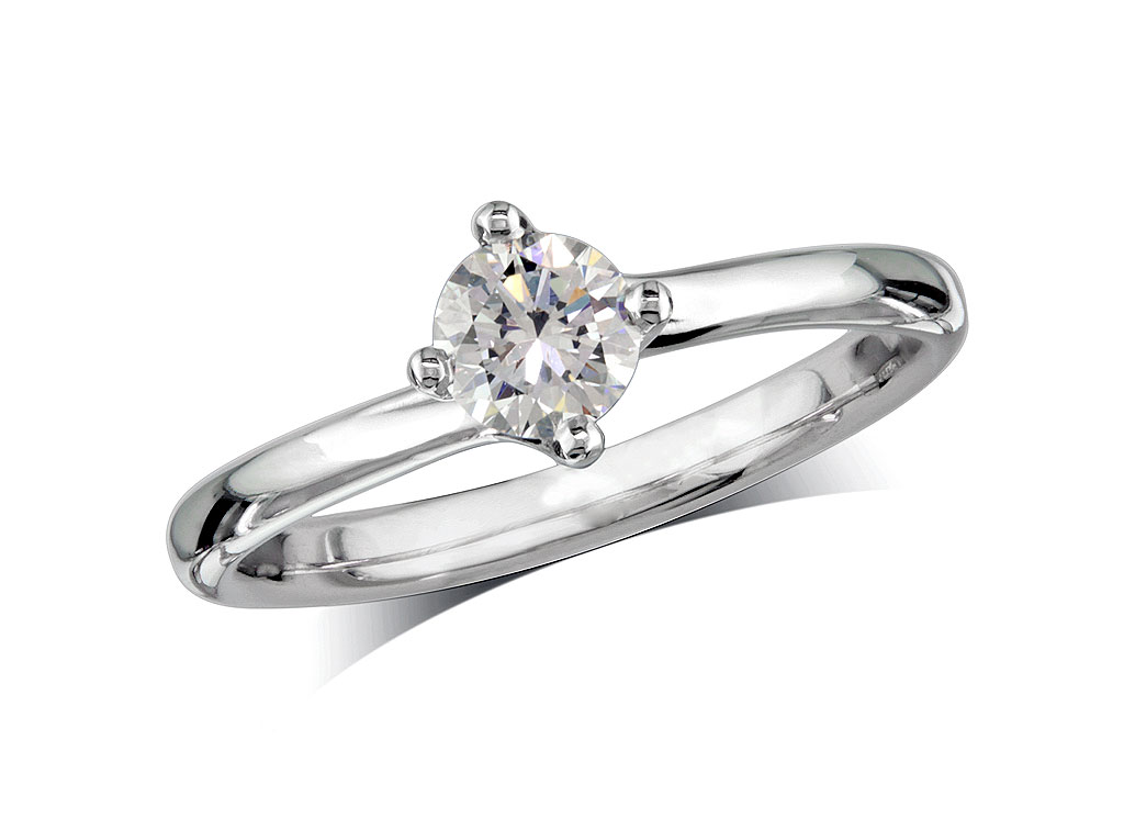 A 0.30ct, Brilliant, F, Single stone diamond ring. You can buy online or reserve online and view in store at Michael Jones Jeweller, Grosvenor Northampton
