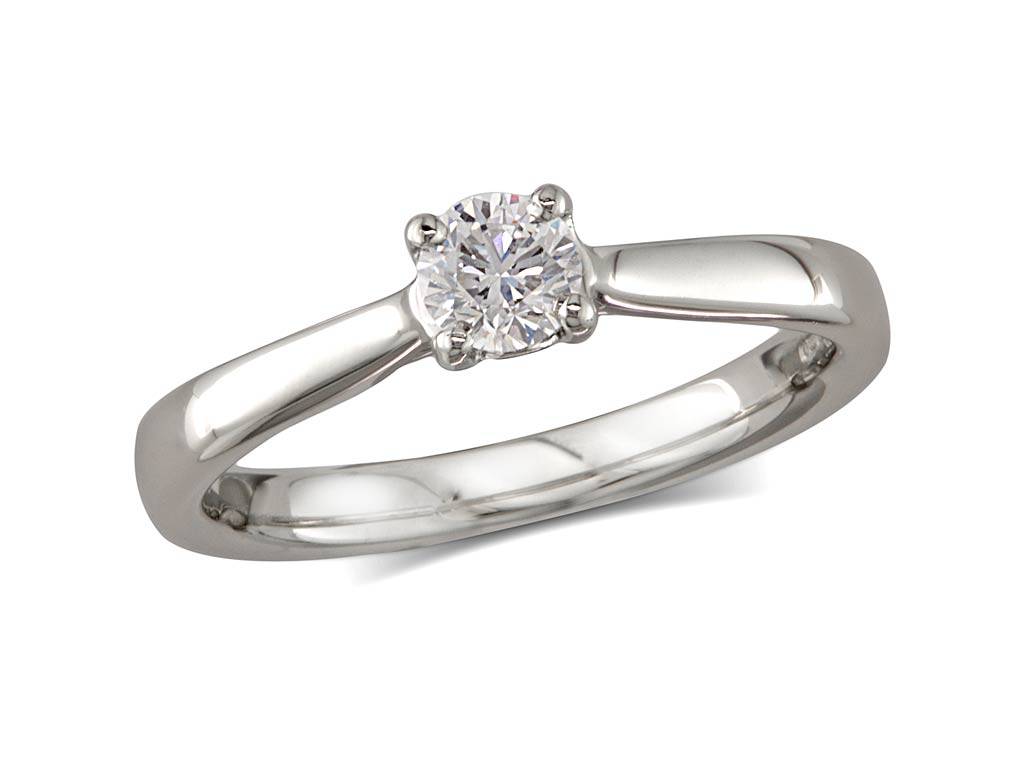 A 0.50ct, Brilliant, G, Single stone diamond ring. You can buy online or reserve online and view in store at Michael Jones Jeweller, Grosvenor Northampton