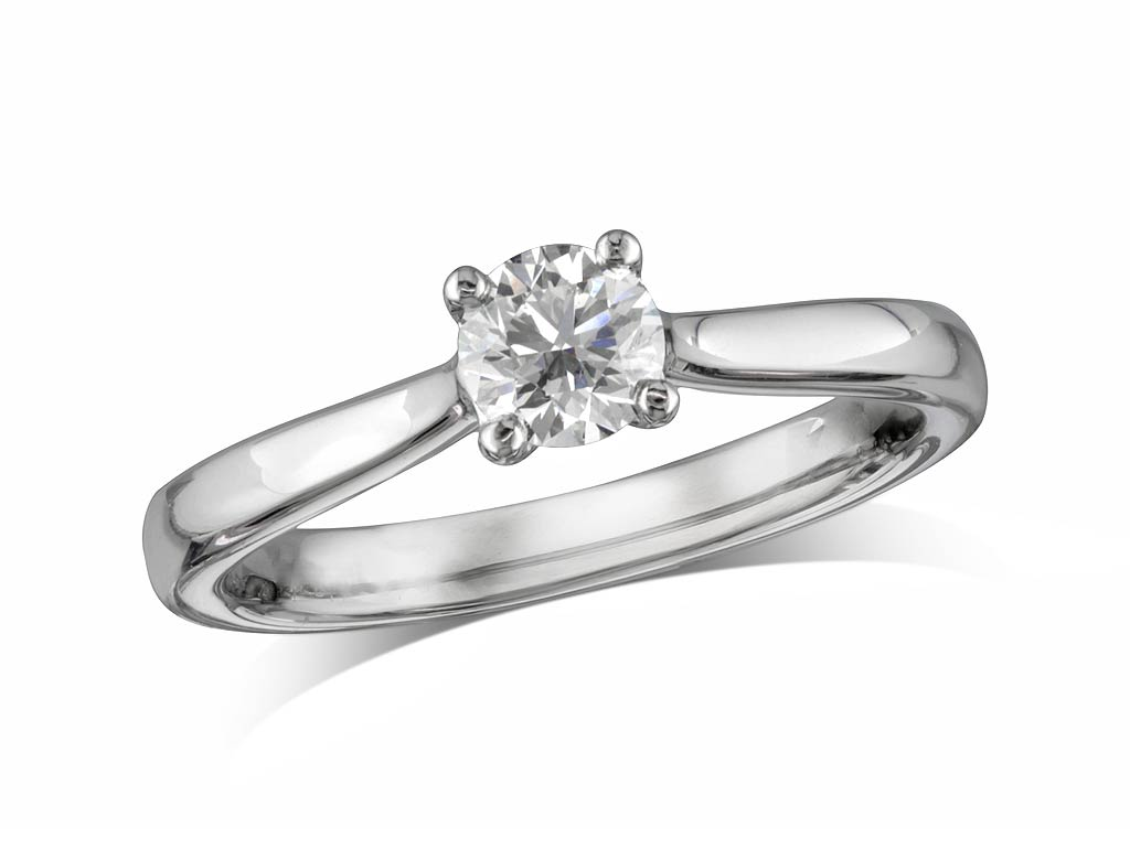 74761092f £1,795; Platinum set single stone diamond engagement ring, with a  certificated brilliant cut, in a