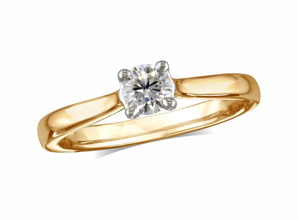 A 0.36ct, Brilliant, E, Single stone diamond ring. You can buy online or reserve online and view in store at Jamieson and Carry, Aberdeen