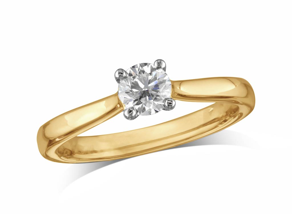 0.43ct | Brilliant | F | Single stone diamond ring | Gold Street ...