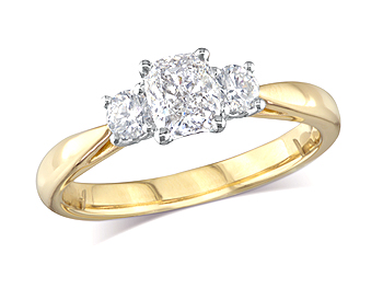 18 carat yellow gold set three stone diamond engagement ring, with a certificated cushion cut centre in a four claw setting, and one brilliant cut on each shoulder. Perfect fit with a wedding ring. Total diamond weight: 0.87ct.