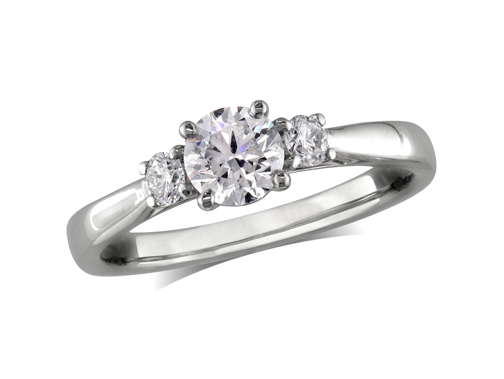 A 0.50ct, Brilliant, F, Three stone diamond ring. You can buy online or reserve online and view in store at Michael Jones Jeweller, Gold Street Northampton
