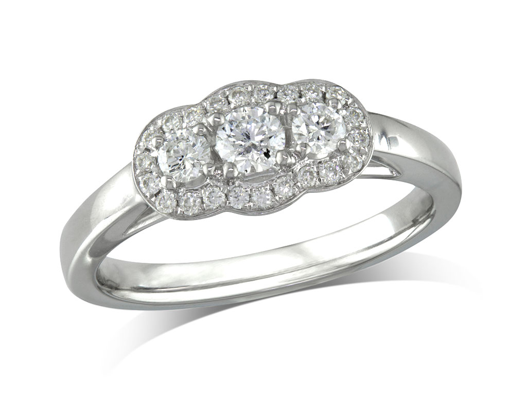A 0.16ct centre, Brilliant, E, Cluster diamond ring. You can buy online or reserve online and view in store at Michael Jones Jeweller, Banbury