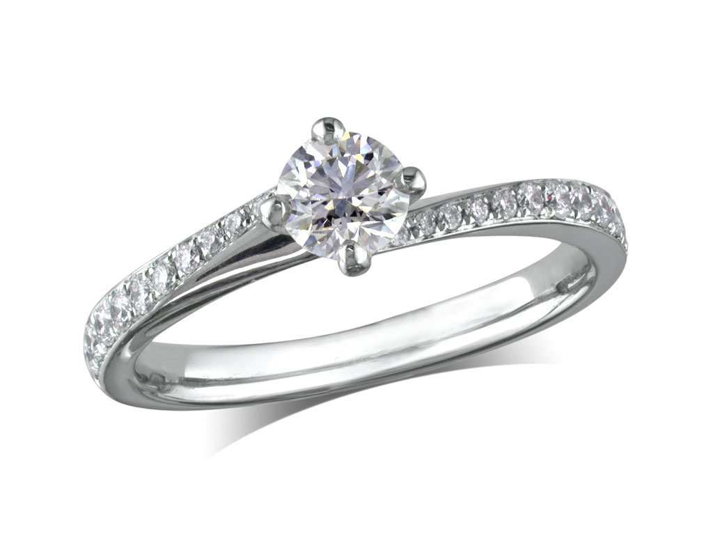 Platinum set single stone diamond engagement ring, with a certificated brilliant cut centre in a four claw setting, and diamond set shoulders. Perfect fit with a wedding ring. Total diamond weight: 0.62ct.