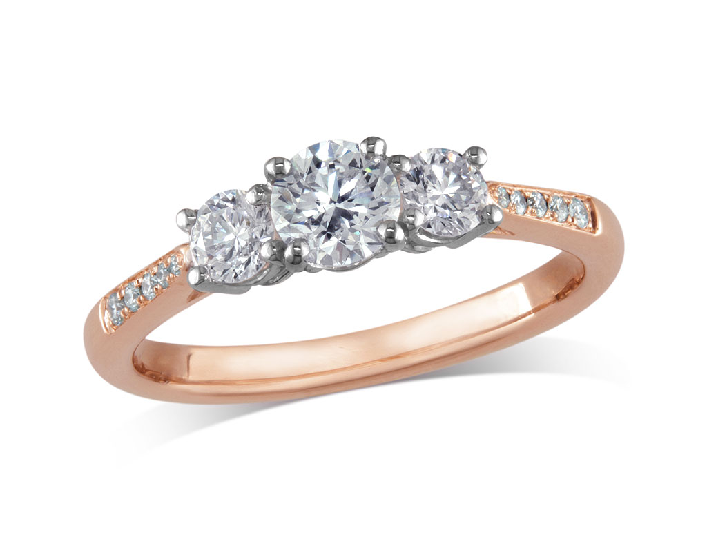 A 0.32ct, Brilliant, F, Three stone diamond ring. You can buy online or reserve online and view in store at Michael Jones Jeweller, Grosvenor Northampton