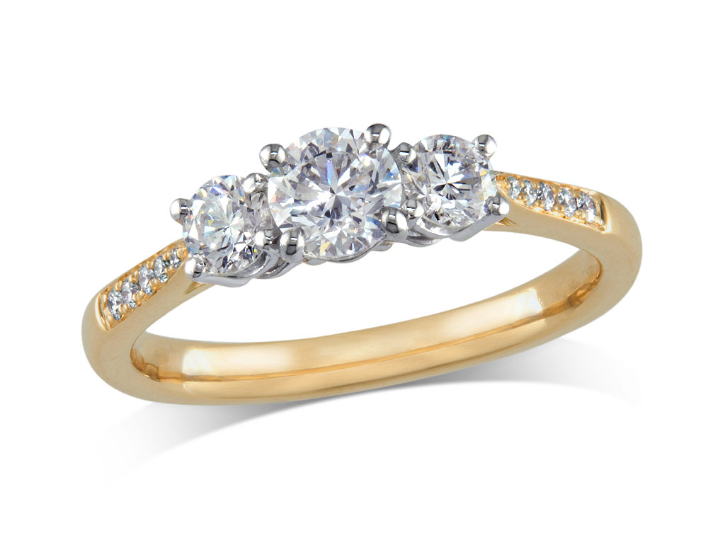 A 0.50ct centre, Brilliant, D, Three stone diamond ring. You can buy online or reserve online and view in store at Michael Jones Jeweller, Grosvenor Northampton