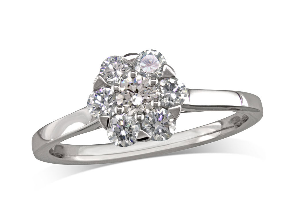 A 0.16, Brilliant, G, Cluster diamond ring. You can buy online or reserve online and view in store at Thurlow Champness, Bury St Edmunds