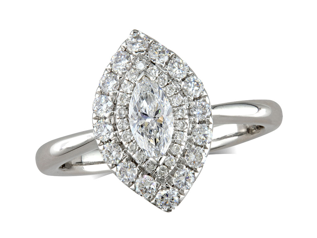A 0.31ct centre, Marquise, D, Cluster diamond ring. You can buy online or reserve online and view in store at Jamieson and Carry, Aberdeen